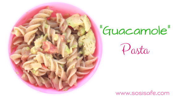 Peanut free, no dairy, and eat clean Guacamole Pasta. Toddler meals made easy.