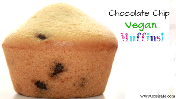 Vegan Chocolate Chip Muffins are dairy free with no peanuts. These are deliciously dense, easy to make and bake!
