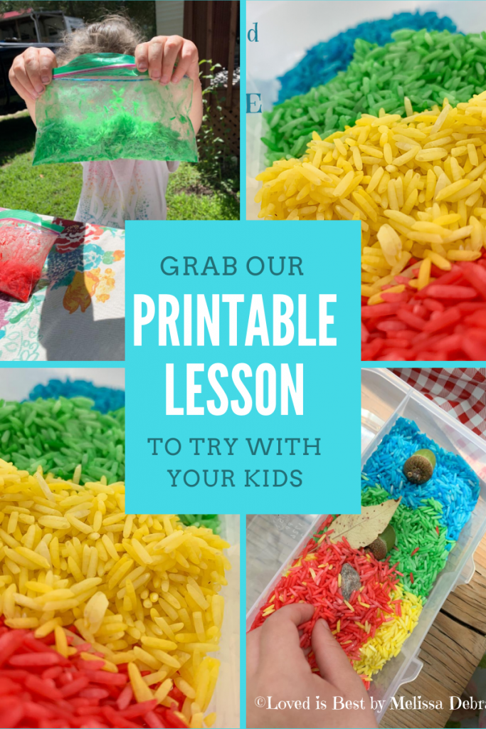 Printable lesson for making coloured rice at home.